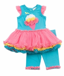 Newborn Girls Aqua Ice Cream Tutu Legging Set - CLEARANCE