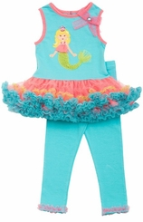 Aqua Mermaid Tutu Legging Set 6 months FINAL SALE