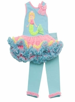 Aqua Mermaid Tutu Legging Set
