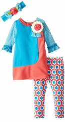 Rare Editions Little Girls Aqua Texture Coral Kint Legging Set with Headband