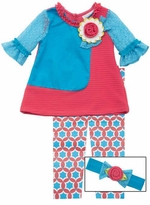 Aqua Texture Coral Kint Legging Set with Headband