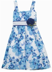 Aqua White Floral Woven Floral Dot Sash Dress  7-16  FINAL SALE
