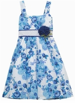 Aqua White Floral Woven Floral Dot Sash Dress
