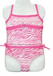 Arizona Little Girls 2pc Zebra Print Pink Swimsuit