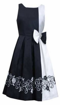 Asymtric Black White Shantung Dress - Special Occasion Dress - SOLD OUT