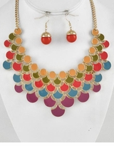 Autumn Bib Necklace and Earring Set