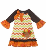 Chevron Turkey Ruffle Dress - Autumn Ruffle Dress