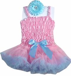 Baby Blue and Pink Pettiskirt Set  - 3 Pc Set
