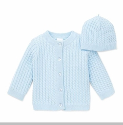 Baby Blue Cardigan Cabled Sweater and Hat Set - sold out