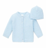 Baby Blue Cardigan Cabled Sweater and Hat Set