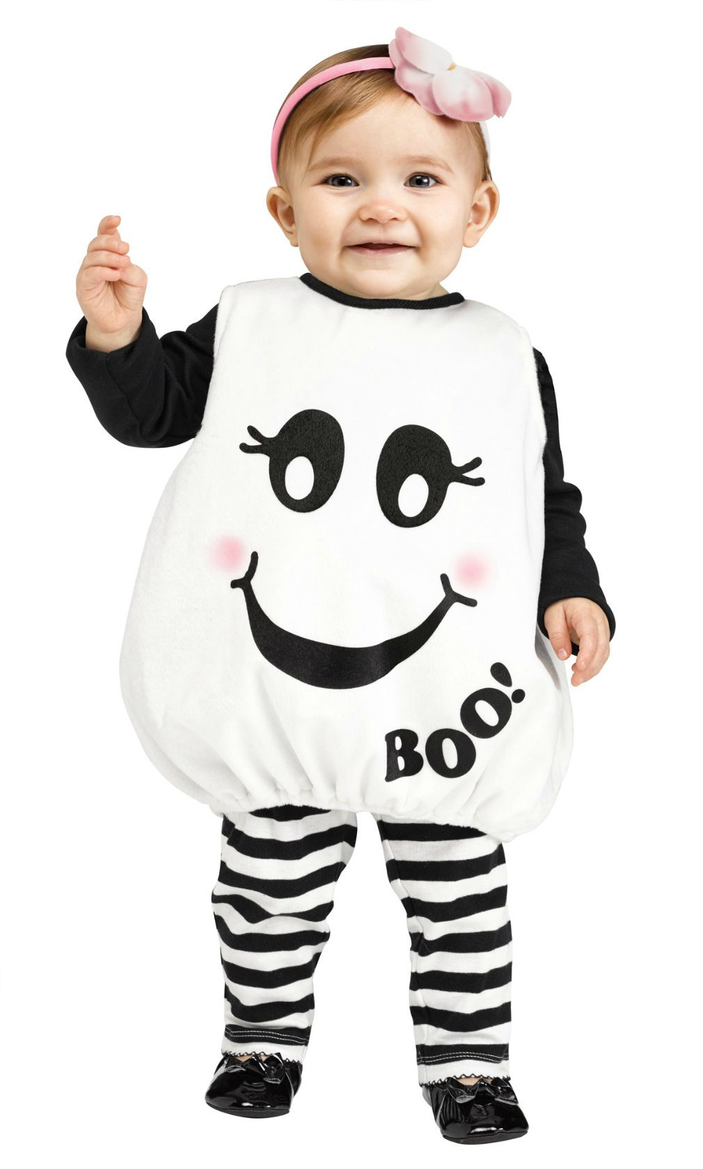 Your toddler will look adorable in this Toddler Baby Boo! smiling ghost costume.