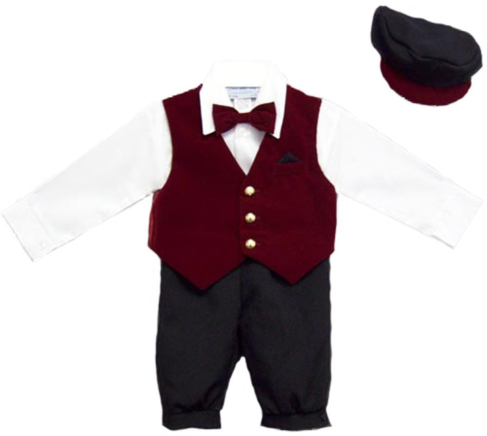 Baby boy suits boys 5pc knicker set in velvet burgundy sold out