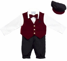 Baby Boy Suits : Boys 5Pc Knicker Set In Velvet - Burgundy - sold out