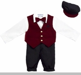 Baby Boy Suits : Boys 5Pc Knicker Set In Velvet - Burgundy