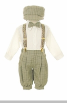 Baby Boy Suits : Boys Sage Plaid Knickerbocker Knicker Boys 5 pc Set