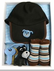 Baby Boys Blue Dog Baseball Cap & Socks Set