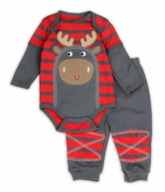 Baby - Boys Moose Grey Red Stripe Pant Set - SOLD OUT
