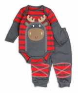Baby - Boys Moose Grey Red Stripe Pant Set
