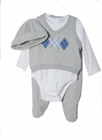 Baby Boys Newborn Grey Blue Argyle Pant Set
