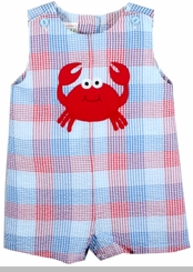 Baby Boys Seersucker Crab Shortall