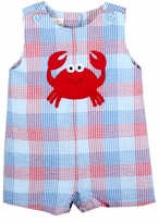 Baby Boys Seersucker Crab Shortall - SOLD OUT