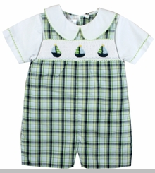 Baby Boys Smocked Sailboat Shortall and Shirt - sold out
