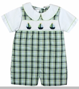 Baby Boys Smocked Sailboat Shortall and Shirt