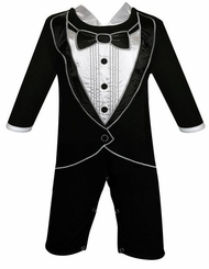 Baby Boys Tiny Tux Long Romper