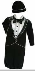 Baby Boys Tuxedo Gown and Cap : Newborn Gift SOLD OUT