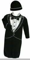 Baby Boys Tuxedo Gown and Cap : Newborn Gift