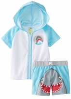 Baby Buns Baby-Boys Cover Up and Swimtrunk Happy Shark Layette Set