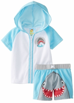 Baby Buns Baby-Boys Cover Up and Swimtrunk Happy Shark