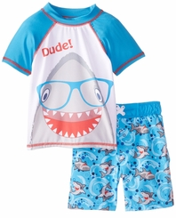 Baby Buns Baby Boys Shark Rash Guard & Swim Trunk Set
