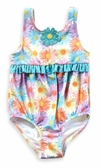 Baby Buns Baby Girls' 1 Piece Bubble Daisy Swimsuit