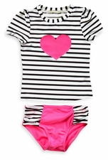 Baby Buns Baby Girls 2-Piece Pink Heart Rashguard Set