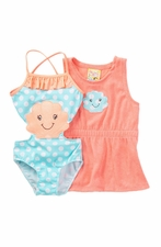 Baby Buns Baby Girls Sea Shells and Coral Robe Set