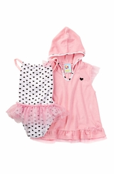 Baby Buns Baby Girls Sweetheart Swimsuit & Coverup Set