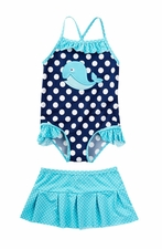 Baby Buns Baby Girls Whale Adventure Swimsuit & Skirt Set