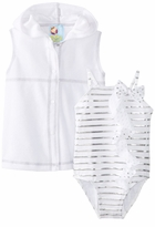 Baby Buns Girls  1 Piece Swimsuit with Cover Up Ribbons and Dots