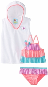 Baby Buns Girls2 Piece Swimsuit with Cover Up Butterfly Rainbow sold out