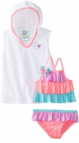 Baby Buns Girls2 Piece Swimsuit with Cover Up Butterfly Rainbow