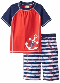 Baby Buns Little Boys' Anchor Away Rashguard and Short Swim Trunk