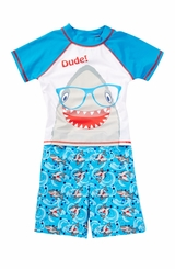 Baby Buns Little Boys Shark Rash Guard & Swim Trunk Set
