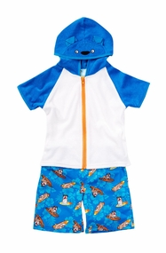 Baby Buns Little Boys  Surf's Ruff! Swim Trunk & Coverup Set