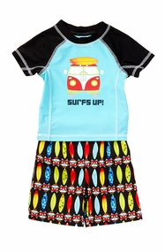 Baby Buns Little Boys Surf's Up! Rash Guard & Swim Trunk Set