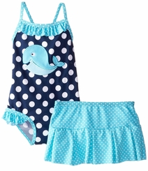 Baby Buns Little Girl Girls Whale Adventure Swimsuit & Skirt Set