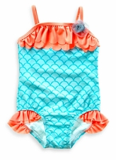 Baby Buns Baby Girls 1-Piece Mermaid Swimsuit W13698