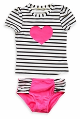 Baby Buns Little Girls Heart Stripe Rash Guard Set - SOLD OUT