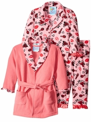 Kids Bunz Little Girls Hugs Kisses Robe Pajama Set