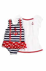Baby Buns Little Girls Nautical Babe Swimsuit & Coverup Set